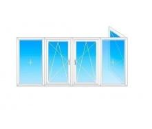 Балкон Г-образный Viknar`OFF Fenster 400 с 1-кам. стеклопакетом 4x1,5м