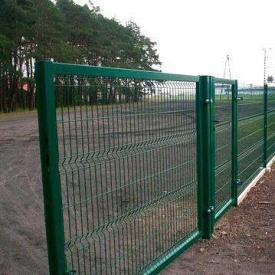 Ворота распашные Сетка Запад 2050х5000 мм оцинковка/ПП RAL 6005 зеленый