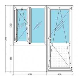 Балконный блок Viknar'OFF Mega Line 500 с 1-камерным стеклопакетом