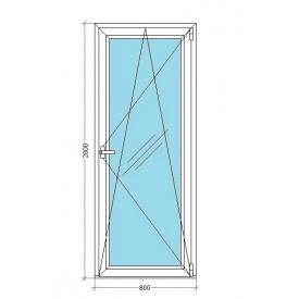 Балконные двери VIKNAR'OFF Mega Line 500 остекленные с 1-камерным стеклопакетом 0,8x2 м