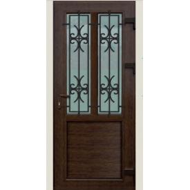 Металлопластиковые фасадные двери KR-56 900х2050 мм Орех
