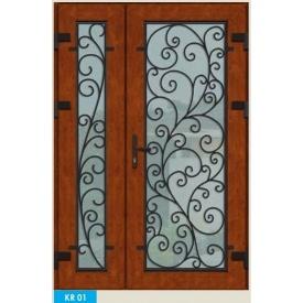 Металлопластиковые фасадные двери KR-01 1200х2050 мм Золотой дуб