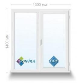 Окно металлопластиковое двухстворчатое Veka Euroline 2х камерный стеклопакет 1300x1400мм