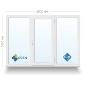 Окно металлопластиковое трехстворчатое Veka iQ 2х камерный стеклопакет 2000x1400 мм