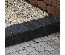 Тротуарная плитка Золотой Мандарин Кирпич Антик 240х160х90 мм черный на сером цементе