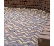 Тротуарная плитка Золотой Мандарин Барселона Антик 192х45х60 мм персиковый на сером цементе