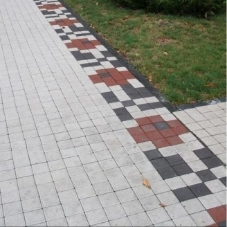 Тротуарна плитка Золотий Мандарин Квадрат малий 100х100х60 мм на білому цементі білий