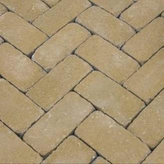 Тротуарна плитка Золотий Мандарин Цегла Антик 200х100х60 мм на сірому цементі гірчичний