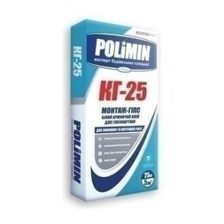 Клеевая смесь Polimin Монтаж-гипс КГ-25 25 кг белый