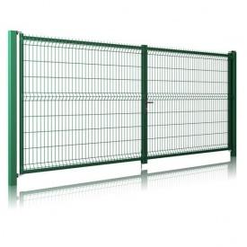 Розпашні ворота 3D Light 1680x4000 мм зелені RAL 6005