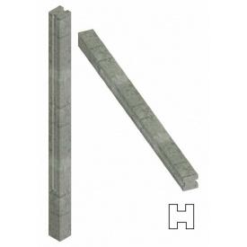 Столб еврозабора Континент бетонный гладкий 4 м на шесть плит