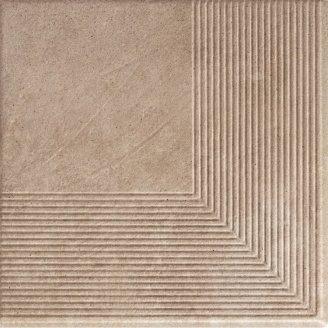 Ступінь кутова клінкерна Paradyz Viano beige struktura 30x30 см