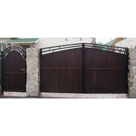 Дерев'яні ворота для будинку Модерн під замовлення
