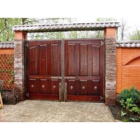Въездные деревянные ворота с калиткой Классик под заказ