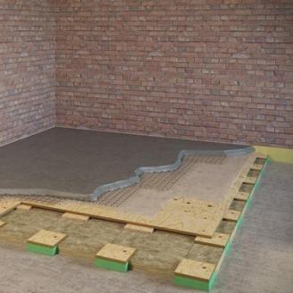 Звукоізоляція підлоги ватою АкулайтНео і силомером 150 мм