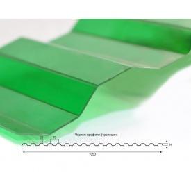 Профилированный монолитный поликарбонат Borrex 0,8 мм 105х200 см зеленый