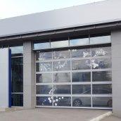 Панорамные ворота ALUTECH AluTherm с тройным остеклением 3250х3460 мм RAL 9006 серебристый металлик
