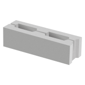 Заборный блок 1/2 BERNSTONE бетон 390х88х120 мм серый цемент