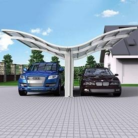 Автомобильный навес из алюминия с монолитным поликарбонатом Oscar CarPort с крышей волна двойной