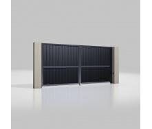 Розпашні ворота ALUTECH Prestige 4000х2000 мм привід Ambo сендвіч-панель S-гофр антрацит (ADS703)