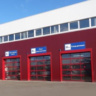 Панорамні ворота ALUTECH AluTrend 3500х4000 мм RAL 3004 пурпурно-червоний