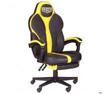 Компьютерное кресло AMF Racer Throne 1250-1170х680х680 мм черный/желтый кожзам