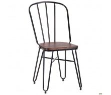 Металевий стілець Clapton 870х440х530 мм чорний з дерев`яним сидінням