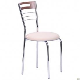 Кухонный стул АМФ Монро металлокаркас хром сидение мягкое светлый орех