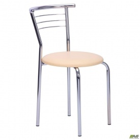 Обеденный стул AMF Маркос хром Скаден 440x470x780 мм беж светлый