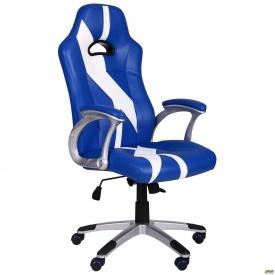 Комп'ютерне крісло AMF Форсаж №10 синій-білий шкірозамінника
