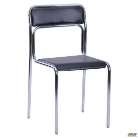Офисный стул AMF Аскона хром 440x470x810 мм черный кожзам