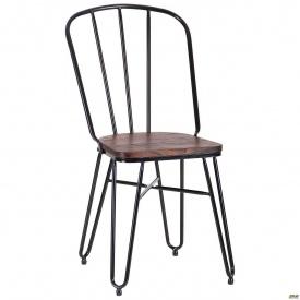 Металлический стул Clapton 870х440х530 мм черный с деревянным сидением