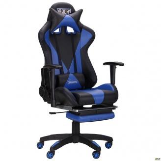 Компьютерное кресло AMF VR Racer Magnus 1340-1240х700х670 мм черный-синий кожзам