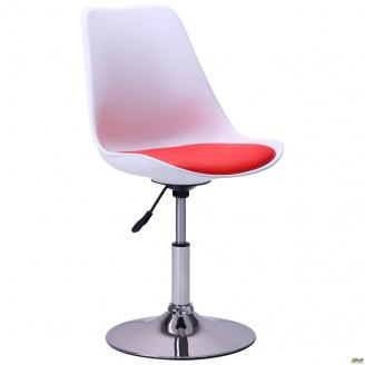 Барный стул Aster chrome бело-красный