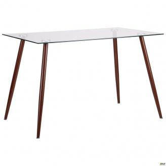 Обеденный стол AMF Умберто DT-1633 1200х700х760 мм металл-орех стекло-прозрачное