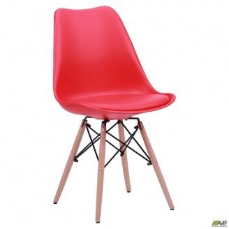 Пластиковый стул AMF Aster Wood 840х490х530 мм красный мягким сидением на деревянных ножках
