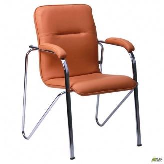Офісний стілець АМФ Самба 890х610х560 мм хром Софт темно-бежевий Неаполь N-51 без канта