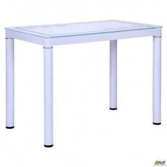 Стеклянный стол АМФ Майорка 1000х600х740 мм белый с узором