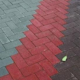Тротуарна плитка Золотий Мандарин Цегла без фаски 200х100х60 мм на сірому цементі червоний