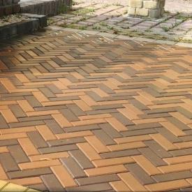 Тротуарна плитка Золотий Мандарин Цегла вузька 210х70х60 мм на сірому цементі персиковий
