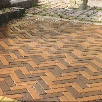 Тротуарная плитка Золотой Мандарин Кирпич узкий 210х70х60 мм на сером цементе персиковый