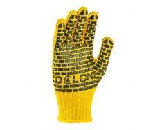 Перчатки №4078 трикотажные желтые с ПВХ точкой 7 класс 10 р