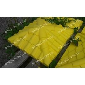 Крышка на забор LAND BRICK Черепица желтая 450х450 мм