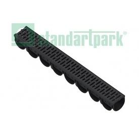 Лоток водоотводный Spark ЛВ-10.14.10-ПП пластик А15 100х130х1000 мм с пластиковой решеткой (088208)