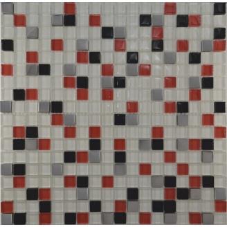 Мозаїка Grand Kerama мікс білий-червоний-чорний-платина 300х300 мм (458)
