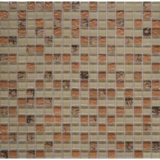 Мозаїка Grand Kerama мікс бежевий-бронза рельєф-камінь 300х300 мм (582)