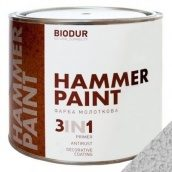 Краска молотковая 3 в 1 Biodur 2,1 л серебристо-серый