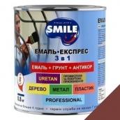 Эмаль Экспресс антикоррозионная 3 в 1 Smile 0,8 кг для крыш коричневый RAL 8012