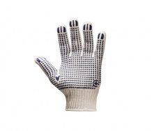 Перчатки трикотаж СИЛА ХБ с ПВХ точкой бело-черные