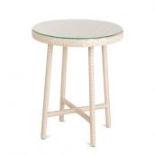 Круглый стол Эспрессо искусственный ротанг 60х75 см белый